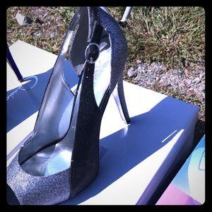 Silver and black sparkle sling back heels
